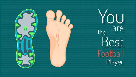 you are the best football player. left foot and right football boots. beautiful color background. vector illustration eps10 Stock Illustratie