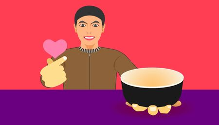free space on cup for your food promotion. a man show a ware and give a mini heart hand for meal recommended. vector illustration