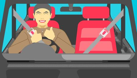 safe drive car. a man so happy when he put the safety belt before go on the road. vector illustration