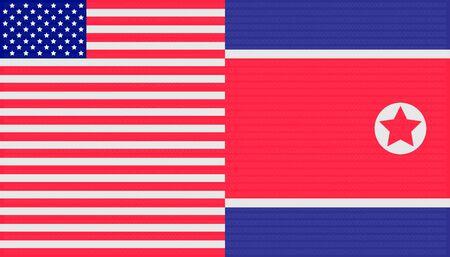 trade war concept. united states and north korea flag background. vector illustration