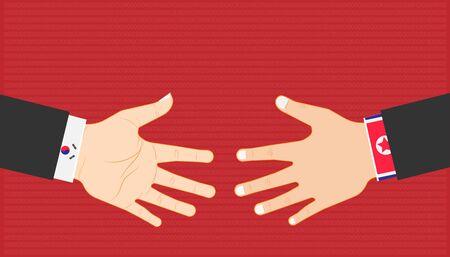 Business-Marketing-Konzept. Landesführer schütteln sich die Hand zwischen Nord- und Südkorea für Handelsbeziehungen. Vektor-Illustration