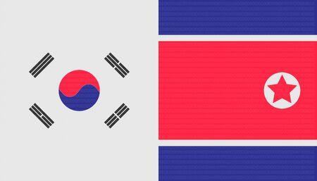 trade war concept. north and south korea flag background. vector illustration