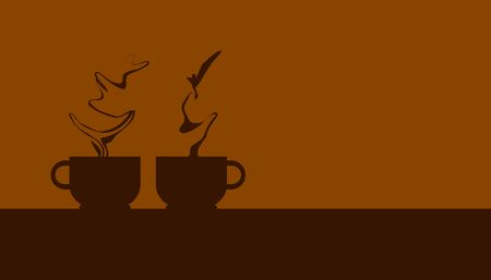 silhouette two coffee cup with beautiful smoke. take a break with your favorite drink.  vector illustration eps10