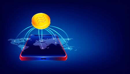 luxury gold libra cryptocurrency coin symbol.  people use the big virtual blockchain around the world via beautiful smartphone. colorful background style. vector illustration eps10