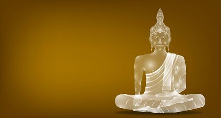 luxury white glass monk phra buddha sitting meditation for pray concentration composed release. colorful background. vector illustration