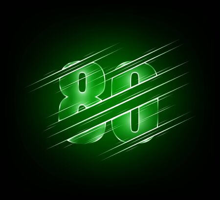 fast speed elements of luxury glass number 80 eighty character. green dark tone background.  vector illustration Ilustração
