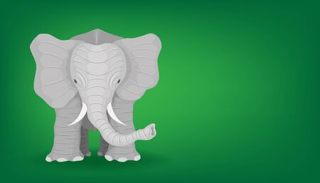 the minimal elephant.  big animal standing looking at front view. vector illustration eps10