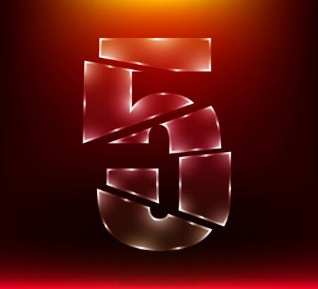 set of abstract poly luxury glass number character 5 five slash by sword with red color background.  vector illustration eps10