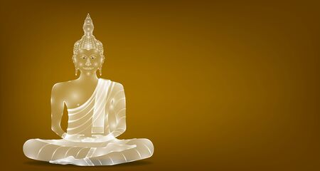 luxury white glass monk phra buddha sitting for pray concentration composed release. colorful background. vector illustration