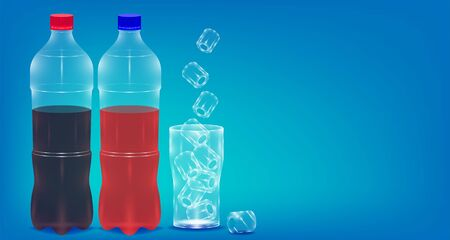realistic sparkling water bottle and glass with ice. copy space blue background. vector illustration eps10 Иллюстрация