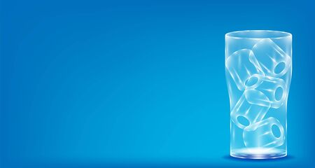 realistic glass with ice water. copy space blue background. vector illustration eps10