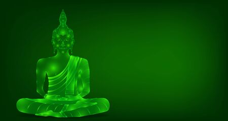 luxury green emerald crystal monk phra buddha sitting for pray concentration composed release. colorful background. vector illustration Illustration