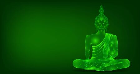 luxury green emerald crystal monk phra buddha sitting meditation for pray concentration composed release. colorful background. vector illustration