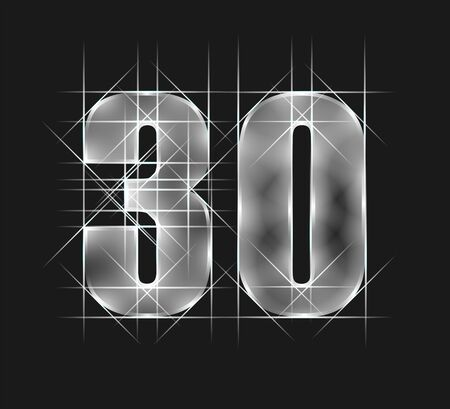 luxury abstract scintillation emerald crystal glass number 30 thirty character. gray tone background. vector illustration