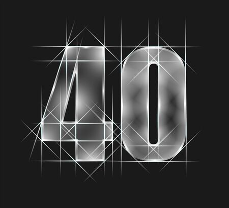 luxury abstract scintillation emerald crystal glass number 40 fourty character. gray tone background. vector illustration Ilustração