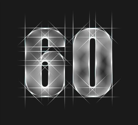 luxury abstract scintillation emerald crystal glass number 60 sixty character. gray tone background. vector illustration Illustration