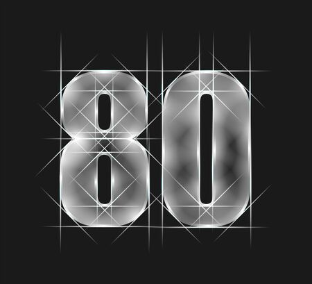 luxury abstract scintillation emerald crystal glass number 80 eighty character. gray tone background.  vector illustration