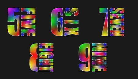 set of abstract colorful luxury glass number from 5 five to 9 nine character. vector illustration eps10