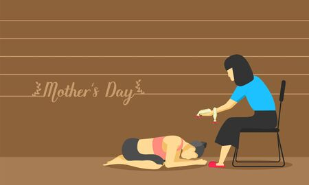 happy mother's day. parent accept her daughter pay respect at foot with love more than world. thailand tradition culture. vector illustration