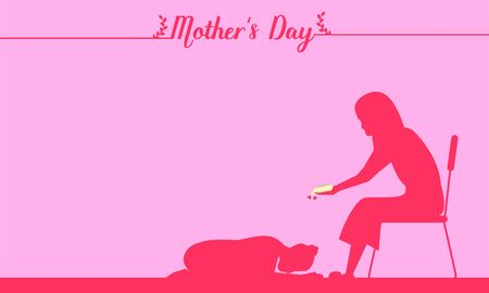 happy mother's day. silhouette parent accept her daughter pay respect at foot with love more than world. thailand tradition culture. vector illustration