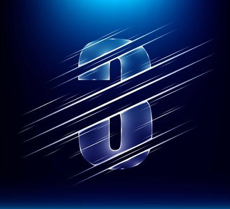 set of abstract fast speed luxury glass number character 3 three with blue color background.  vector illustration eps10
