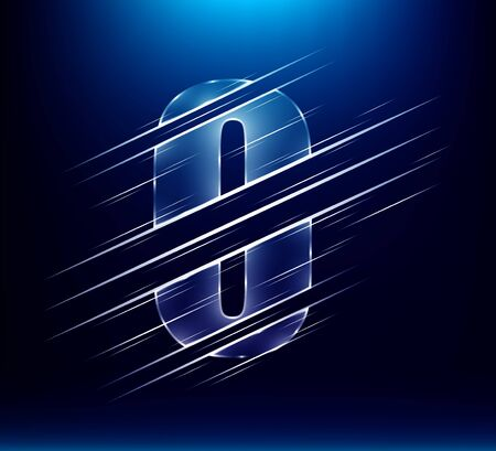 set of abstract fast speed luxury glass number character 0 zero with blue color background.  vector illustration eps10