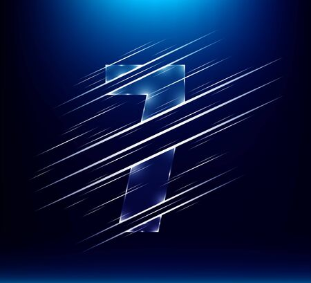 set of abstract fast speed luxury glass number character 7 seven with blue color background.  vector illustration eps10