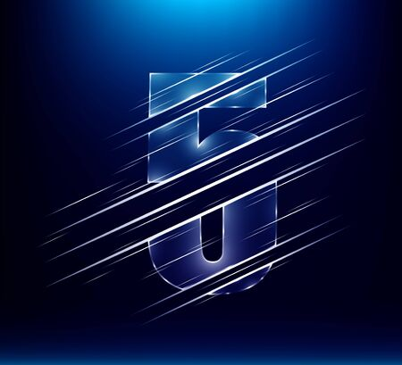 set of abstract fast speed luxury glass number character 5 five with blue color background.  vector illustration eps10 Иллюстрация