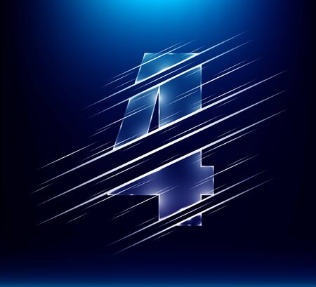 set of abstract fast speed luxury glass number character 4 four with blue color background.  vector illustration eps10 Иллюстрация