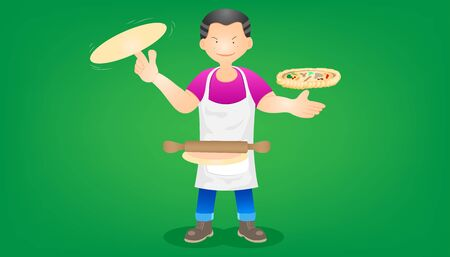 set of the merchant fast food. a man stand thresh flour for making pizza. character design. vector illustration eps10