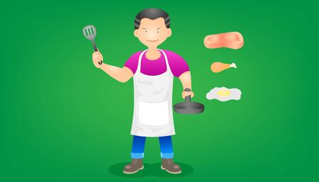 set of the merchant meat chicken and egg omelet. a mant stand showing a pan and spatula. character design. vector illustration eps10