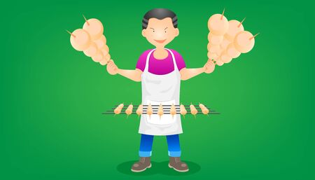 set of the merchant barbecue. a man standing show the meat ball roast grill on hand. character design. vector illustration eps10  イラスト・ベクター素材