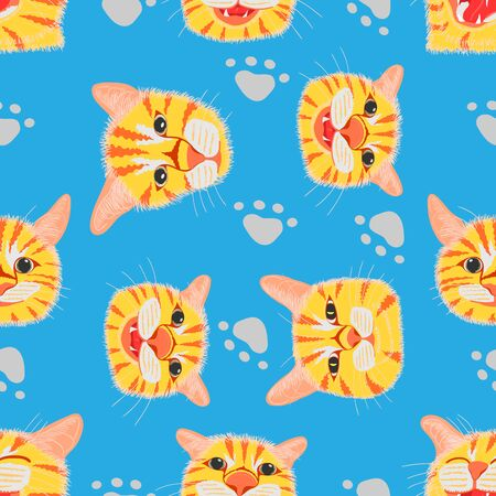seamless pattern set of different element cute cat head and footprint. vector illustration