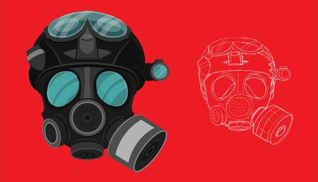 isolated and sketch drawing gas face mask on red background. vector illustration Illustration