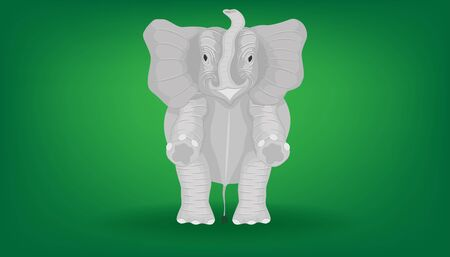 the minimal elephant standing 2 two legs for show fight play front view.  vector illustration eps10 Ilustração
