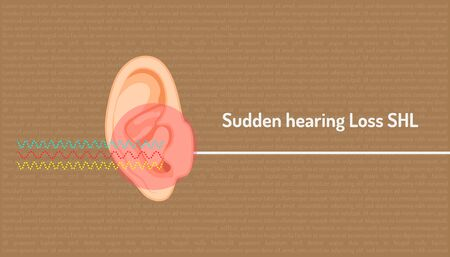 sudden hearing loss shl red dangerous clircle symbol mean a signal is wave line into an ear but can not hear  is direct line. body part beautiful color. vector illustration Illustration