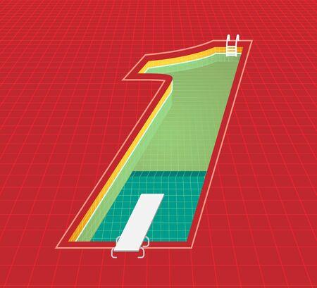 swimming pool number 1 one character. red tone background. vector illustration eps10 Ilustração