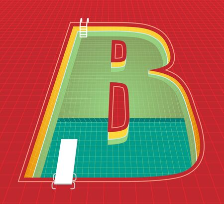 swimming pool alphabet B character. red tone background. vector illustration eps10 Çizim