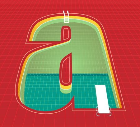 swimming pool alphabet a character. red tone background. vector illustration eps10