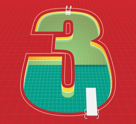 swimming pool number 3 three character. red tone background. vector illustration eps10