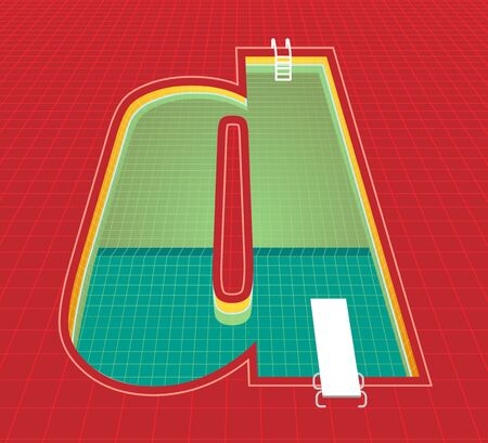 swimming pool alphabet d character. red tone background. vector illustration eps10