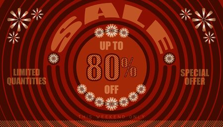 sale this weekend only up to 80% end of year special offer. vintage retro style. small to big circle from center. creative poster design. vector illustration