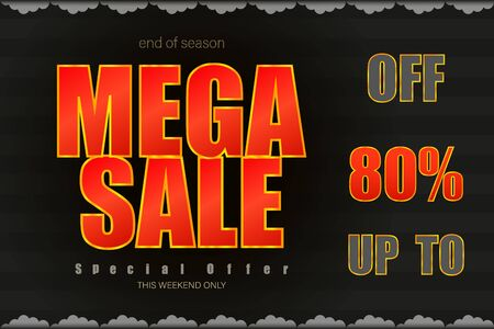 mega sale up to 80% end of season special offer black tone vector illustration Vectores
