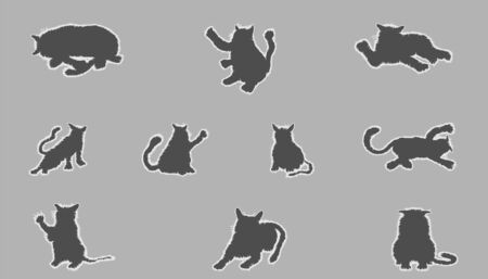 silhouette funny cat element. vector illustration eps10 Illusztráció