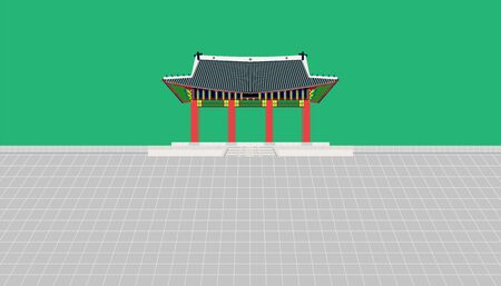 gate long wall and large courtyard at changdeokgung palace in seoul south korea vector illustration