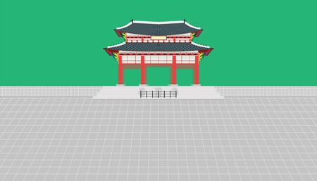 square gate and long wall and large courtyard at palace in seoul south korea vector illustration