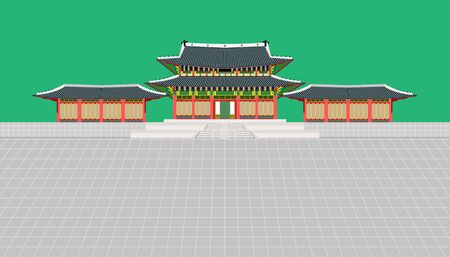 mini building and long wall and large courtyard at palace in seoul south korea vector illustration Illusztráció