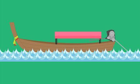 Voyage en mer touristique en bateau à longue queue avec la rivière bleue. illustrateur de vecteur Vecteurs
