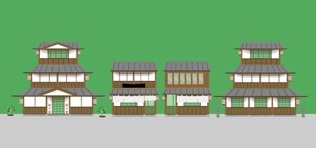 set of japanese old home and restaurants. vector illustration