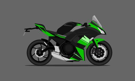 green black color big bike motor fast speed modern style. vector illustration